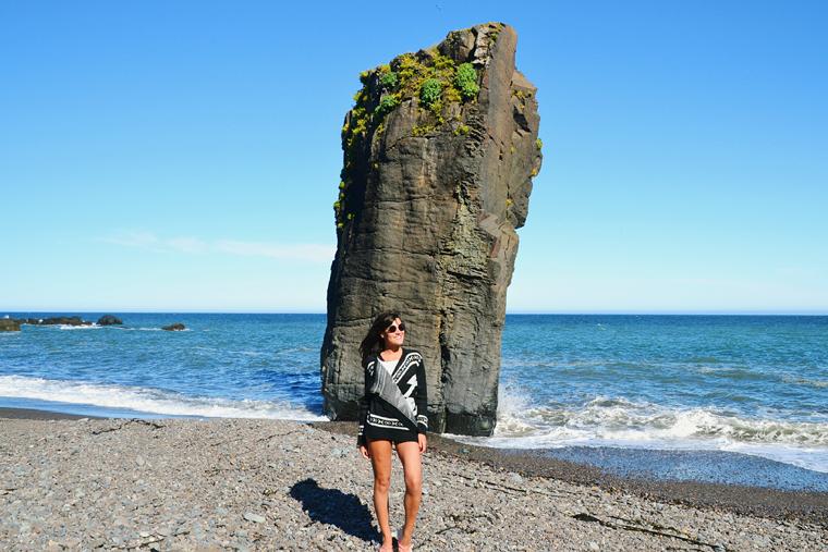 Praia de areia negra ao sul da Islândia