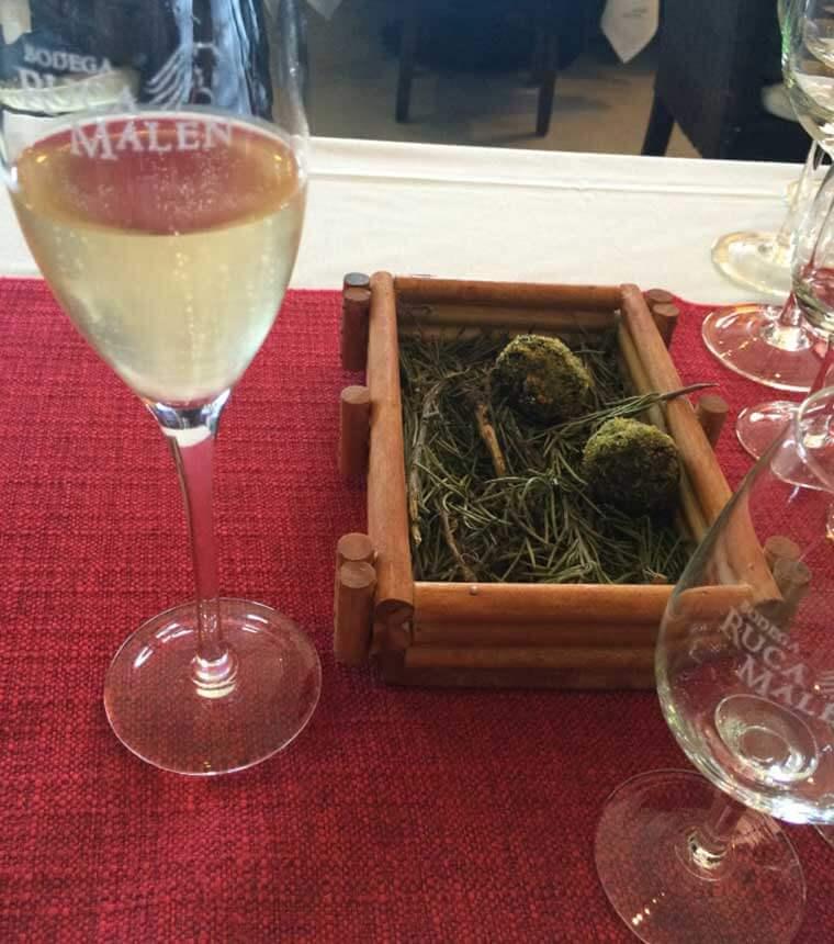 Croquetes de espinafre e limão cobertos com milho crocante harmonizado com Ruca Malen Brut