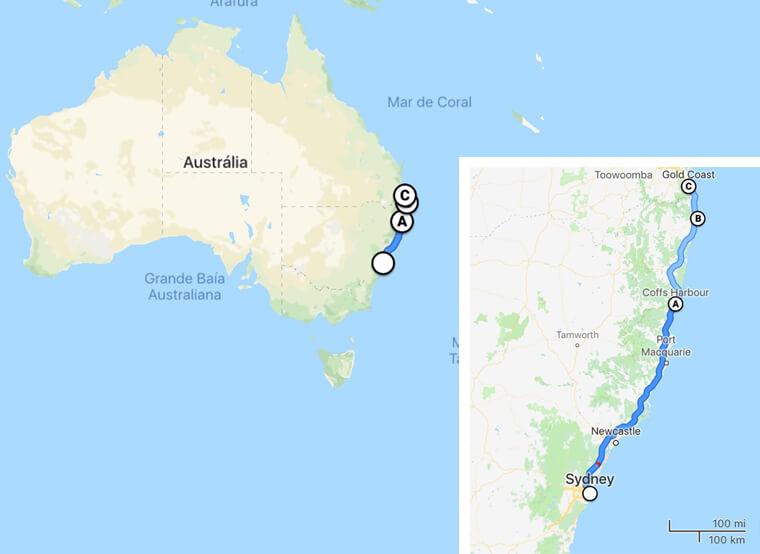 Aqui tem um resumo no mapa dos locais que paramos
